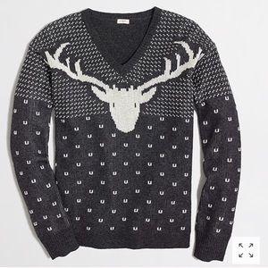 J CREW Reindeer Sweater V-Neck Gray